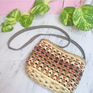 vtg vsco 90s straw weave macrame crossbody bag